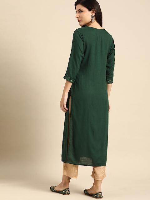 Rajnandini Women Green Embellished Kurta 5