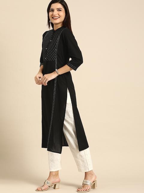 Rajnandini Women Black Striped Embroidered Pure Cotton Kurta 4