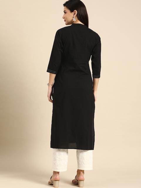 Rajnandini Women Black Striped Embroidered Pure Cotton Kurta 5