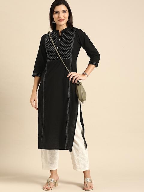 Rajnandini Women Black Striped Embroidered Pure Cotton Kurta 1