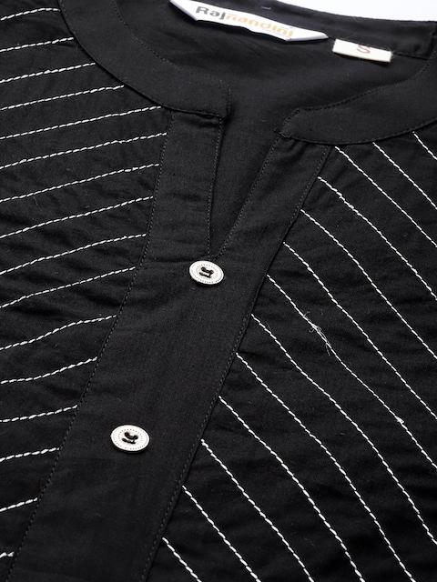 Rajnandini Women Black Striped Embroidered Pure Cotton Kurta 2