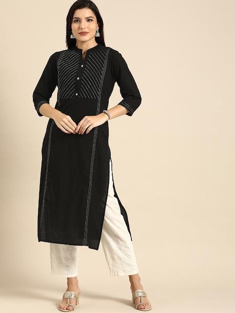Rajnandini Women Black Striped Embroidered Pure Cotton Kurta 3