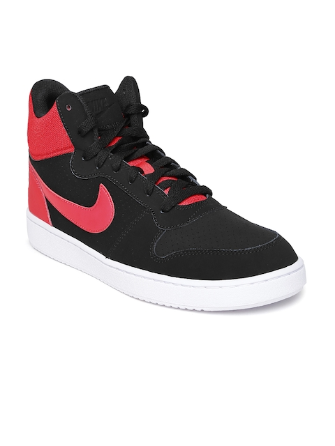 Nike Men Black & Red Court Borough Suede Mid-Top Sneakers