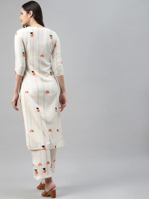 Nehamta Women Off White & Orange Pin Striped Thread Work Straight Kurta with Palazzos 5