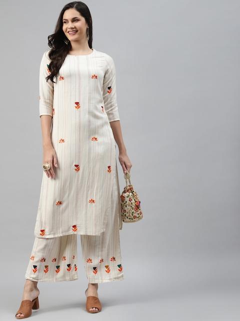 Nehamta Women Off White & Orange Pin Striped Thread Work Straight Kurta with Palazzos 6
