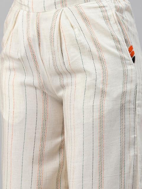 Nehamta Women Off White & Orange Pin Striped Thread Work Straight Kurta with Palazzos 3
