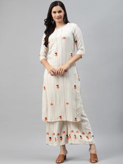 Nehamta Women Off White & Orange Pin Striped Thread Work Straight Kurta with Palazzos 1