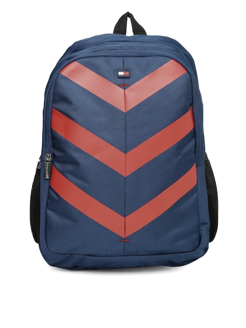 Tommy Hilfiger Unisex Navy & Red Printed Laptop Backpack