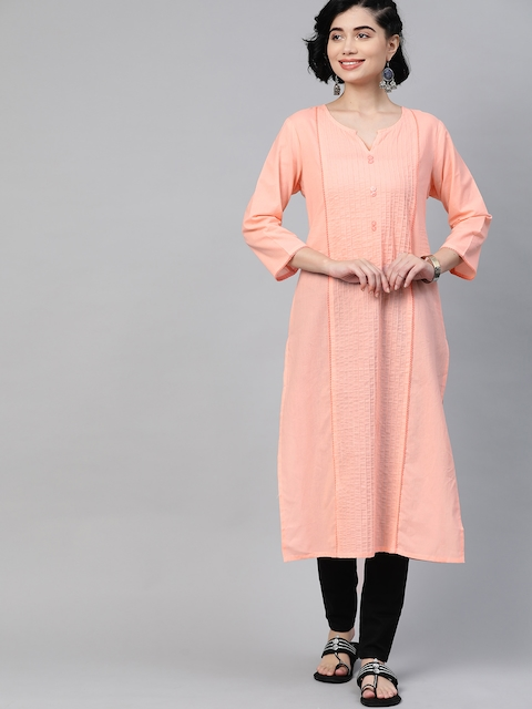 HERE&NOW Women Peach Coloured Pure Cotton Solid Panelled Kurta 1