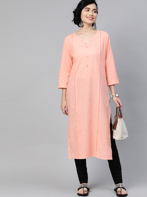 HERE&NOW Women Peach Coloured Pure Cotton Solid Panelled Kurta 5