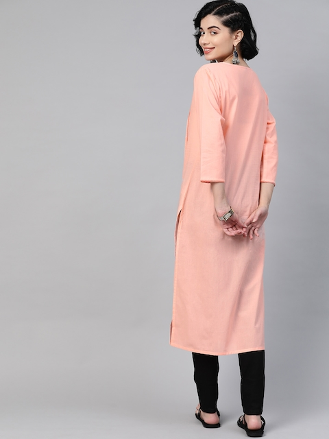 HERE&NOW Women Peach Coloured Pure Cotton Solid Panelled Kurta 4
