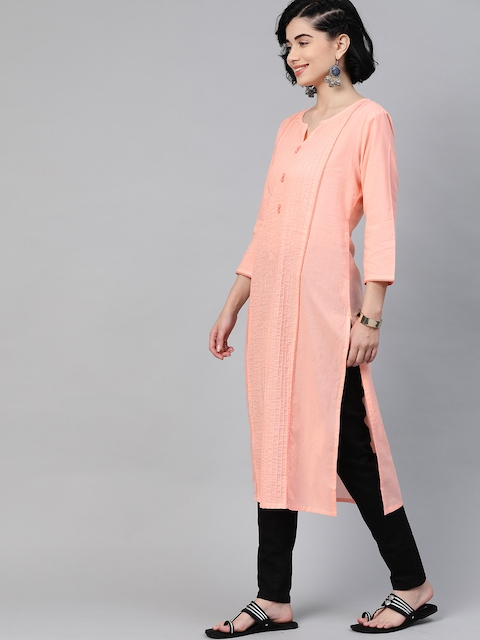 HERE&NOW Women Peach Coloured Pure Cotton Solid Panelled Kurta 3