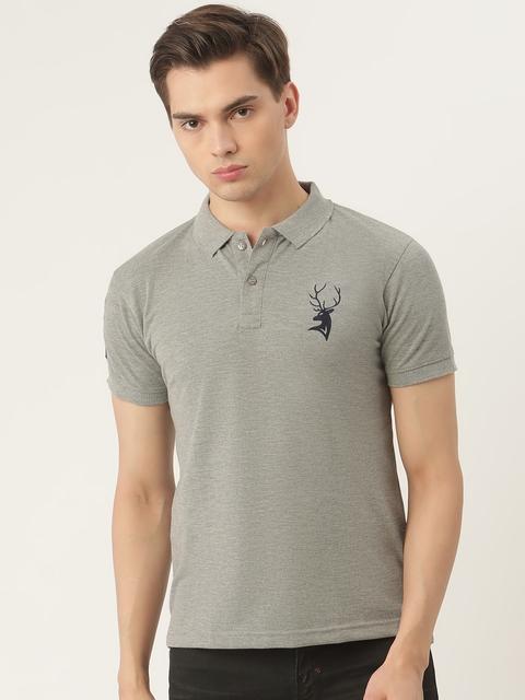 PORTBLAIR Men Grey Melange Brand Logo Embroidered Polo Collar T-shirt 1