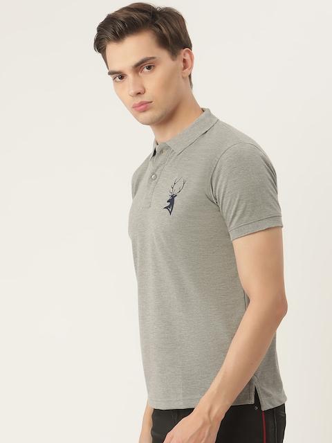 PORTBLAIR Men Grey Melange Brand Logo Embroidered Polo Collar T-shirt 3