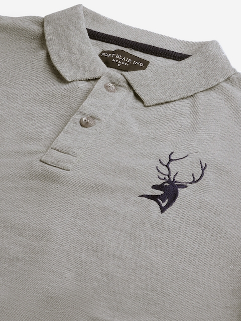 PORTBLAIR Men Grey Melange Brand Logo Embroidered Polo Collar T-shirt 2
