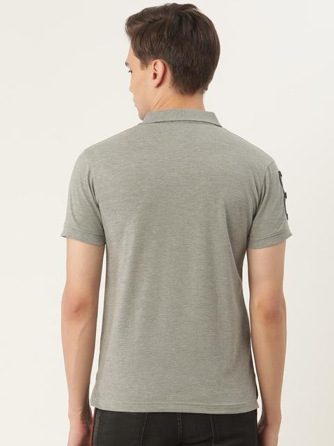 PORTBLAIR Men Grey Melange Brand Logo Embroidered Polo Collar T-shirt 4