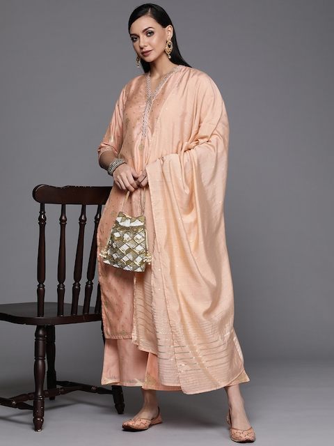 Libas Women Peach-Coloured Embroidered Chanderi Silk Kurta with Palazzos & Dupatta 7
