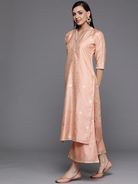 Libas Women Peach-Coloured Embroidered Chanderi Silk Kurta with Palazzos & Dupatta 5