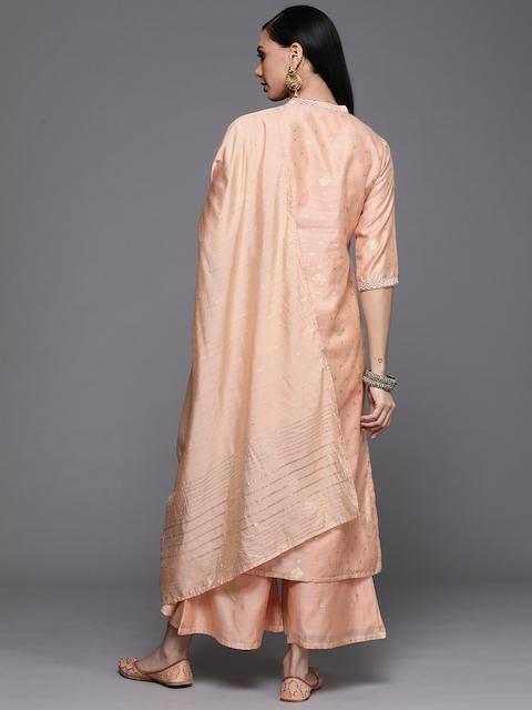 Libas Women Peach-Coloured Embroidered Chanderi Silk Kurta with Palazzos & Dupatta 6
