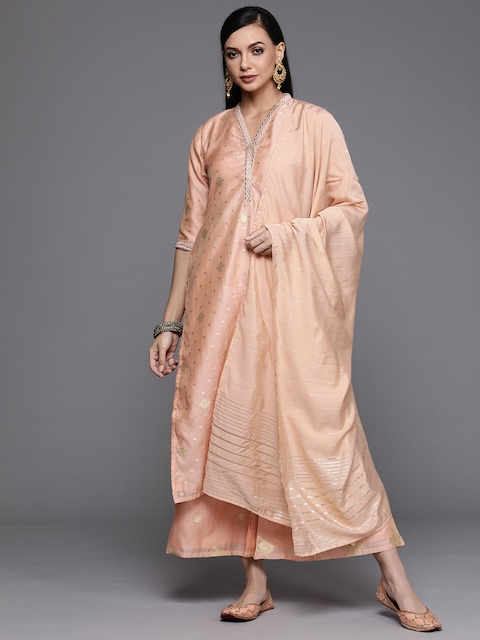 Libas Women Peach-Coloured Embroidered Chanderi Silk Kurta with Palazzos & Dupatta 1