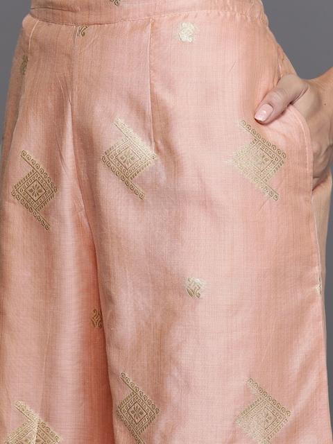 Libas Women Peach-Coloured Embroidered Chanderi Silk Kurta with Palazzos & Dupatta 3