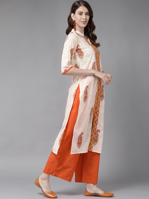 Libas Women White & Orange Printed Panelled Pure Cotton Kurta with Palazzos & With Dupatta 5