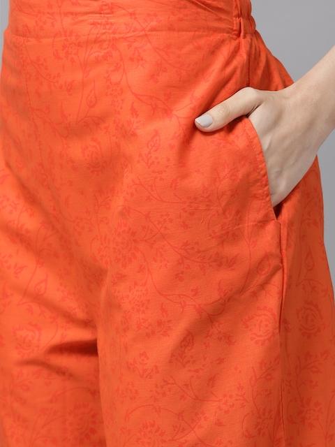 Libas Women White & Orange Printed Panelled Pure Cotton Kurta with Palazzos & With Dupatta 3