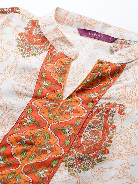 Libas Women White & Orange Printed Panelled Pure Cotton Kurta with Palazzos & With Dupatta 2