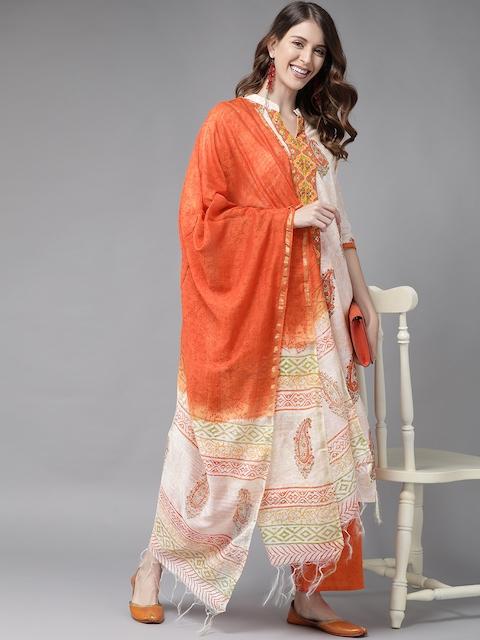 Libas Women White & Orange Printed Panelled Pure Cotton Kurta with Palazzos & With Dupatta 7