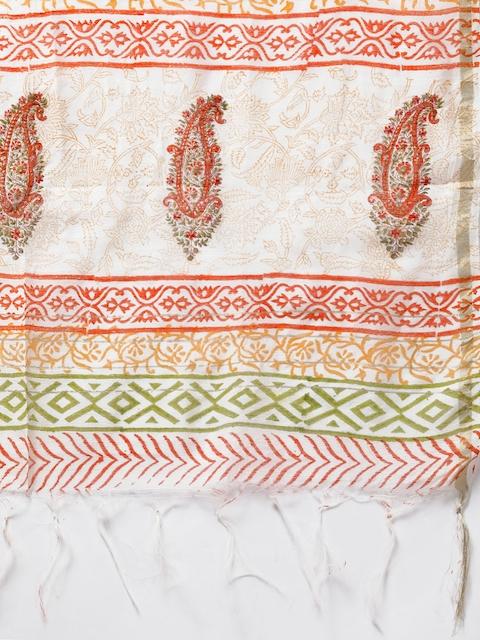 Libas Women White & Orange Printed Panelled Pure Cotton Kurta with Palazzos & With Dupatta 4