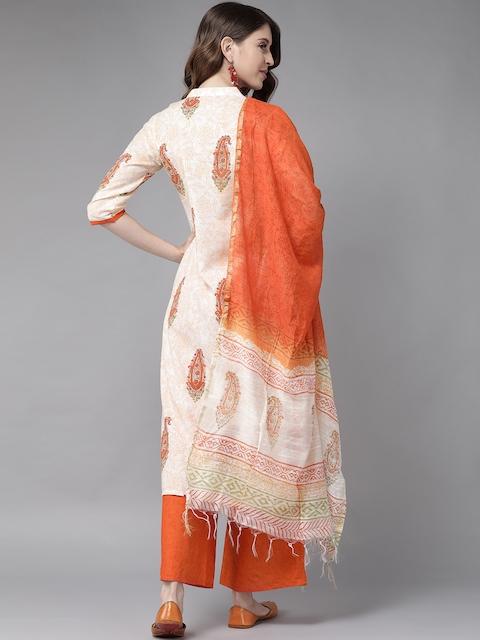 Libas Women White & Orange Printed Panelled Pure Cotton Kurta with Palazzos & With Dupatta 6