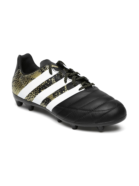 Adidas Men Black Printed ACE 16.3 Leather Football Shoes