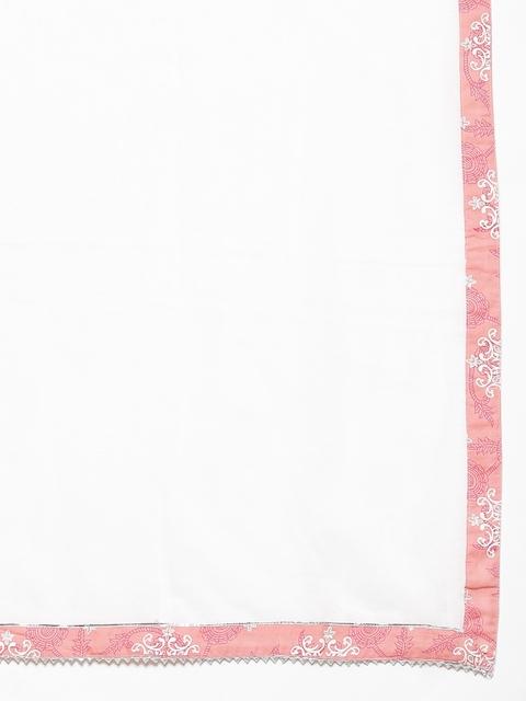 Yuris Women Pink & White Ethnic Motifs Gotta Patti Cotton Kurta with Trousers & Dupatta 4