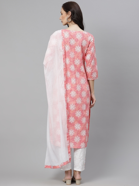 Yuris Women Pink & White Ethnic Motifs Gotta Patti Cotton Kurta with Trousers & Dupatta 6