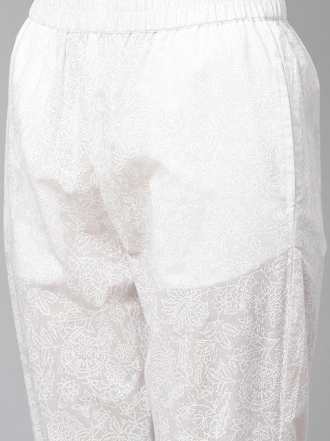 Yuris Women Pink & White Ethnic Motifs Gotta Patti Cotton Kurta with Trousers & Dupatta 3