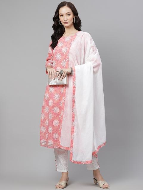 Yuris Women Pink & White Ethnic Motifs Gotta Patti Cotton Kurta with Trousers & Dupatta 7