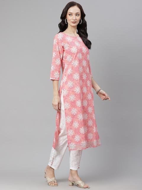 Yuris Women Pink & White Ethnic Motifs Gotta Patti Cotton Kurta with Trousers & Dupatta 5