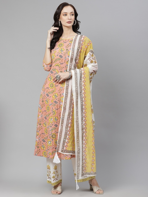 Yuris Women Peach-Coloured & Yellow Ethnic Motifs Cotton Kurta with Palazzos & Dupatta 1