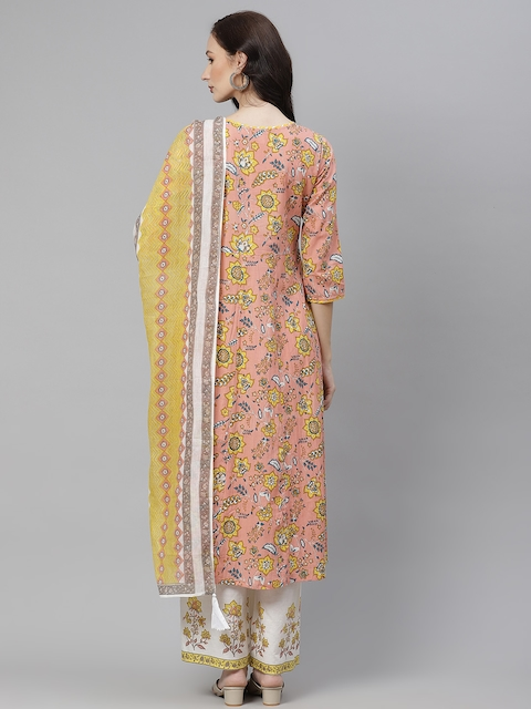 Yuris Women Peach-Coloured & Yellow Ethnic Motifs Cotton Kurta with Palazzos & Dupatta 6