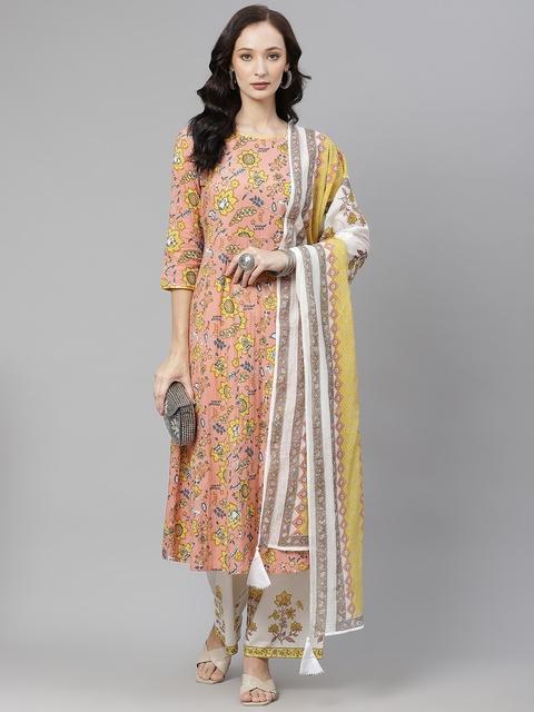 Yuris Women Peach-Coloured & Yellow Ethnic Motifs Cotton Kurta with Palazzos & Dupatta 7
