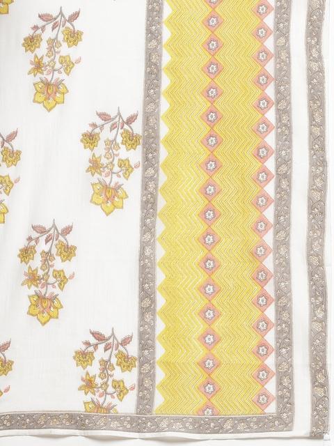 Yuris Women Peach-Coloured & Yellow Ethnic Motifs Cotton Kurta with Palazzos & Dupatta 3