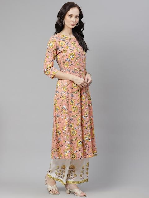 Yuris Women Peach-Coloured & Yellow Ethnic Motifs Cotton Kurta with Palazzos & Dupatta 5