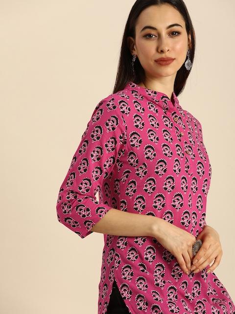 Anouk Women Pink & Black Ethnic Motifs Printed Kurta 3