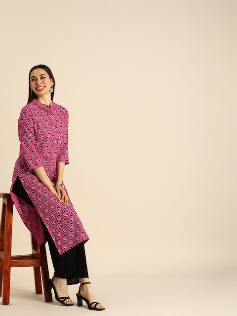 Anouk Women Pink & Black Ethnic Motifs Printed Kurta 1
