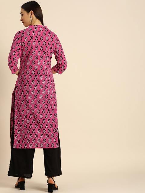 Anouk Women Pink & Black Ethnic Motifs Printed Kurta 5