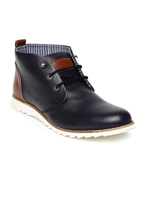 2497b47c0 Footin Men Black Perforated Mid-Top Derby Shoes Image