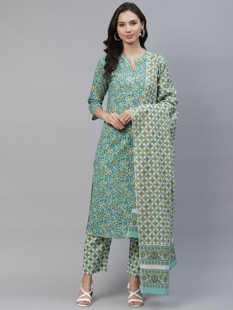 Yuris Women Sea Green & Navy Blue Printed Pure Cotton Kurta with Trousers & Dupatta 1