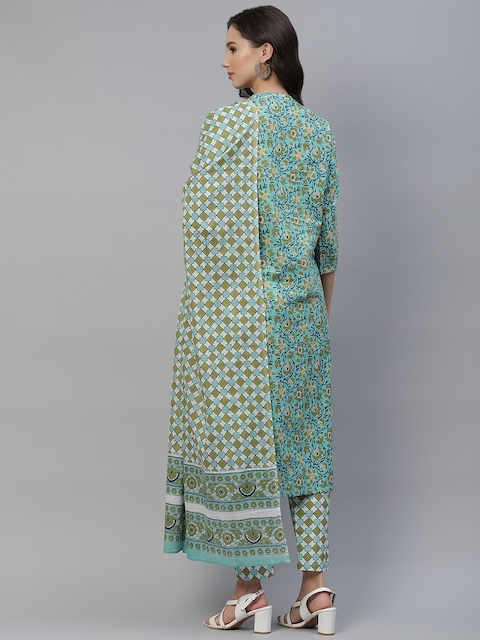 Yuris Women Sea Green & Navy Blue Printed Pure Cotton Kurta with Trousers & Dupatta 6