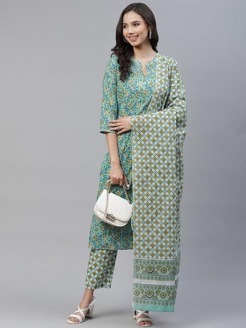 Yuris Women Sea Green & Navy Blue Printed Pure Cotton Kurta with Trousers & Dupatta 7