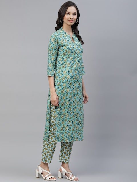 Yuris Women Sea Green & Navy Blue Printed Pure Cotton Kurta with Trousers & Dupatta 5